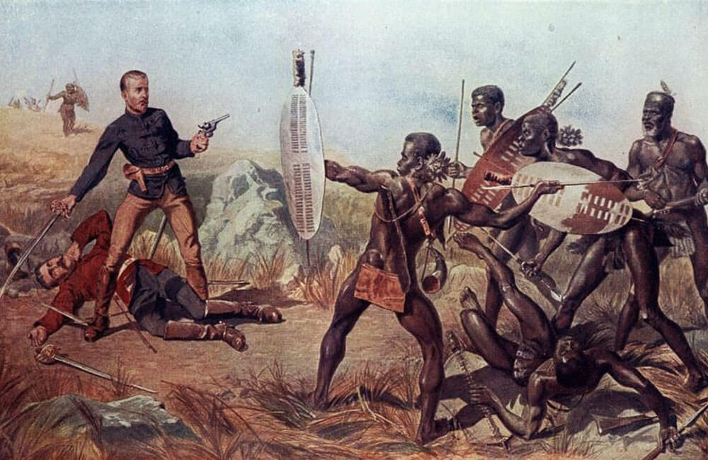 A painting titled 'An Incident at the Battle of Isandlwana' by Charles Edward Fripp, used on the post 'Deny Your God' by Atticus Mullikin