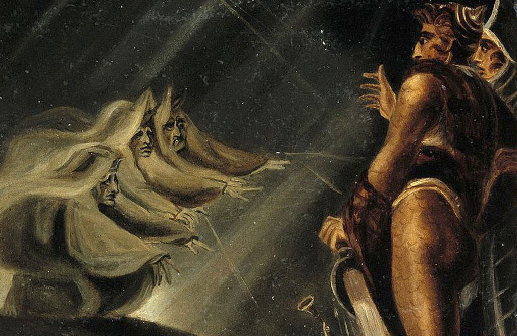 Painting Macbeth and Banquo meet the Weird Sisters by Henry Fuseli, showing Macbeth's first meeting with the 3 witches