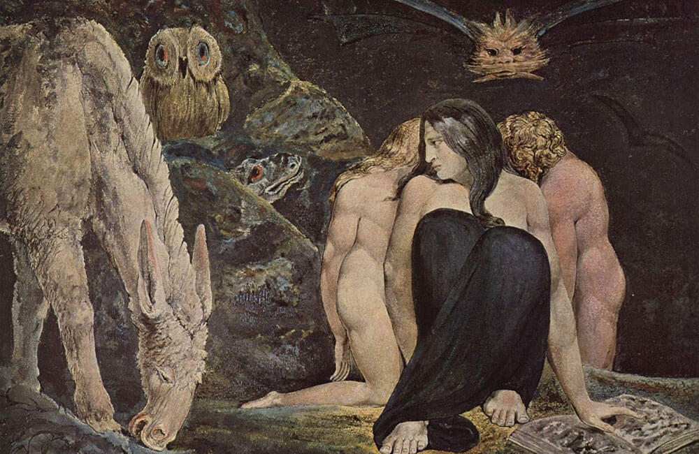 The painting titles The Night of Enitharmon's Joy by William Blake depicting the triparate goddess, related to the Weird Sisters from Macbeth