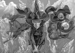 Art depicting 3 witches from Terry Pratchett's Discworld
